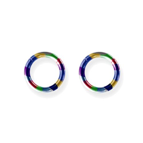 "Lex and Lu Pair of Titanium Seamless Captive 12 Gauge 3/8"" Dia Rainbow"