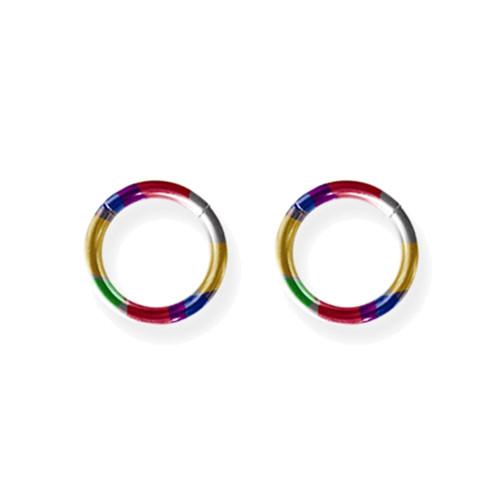 "Lex and Lu Pair of Titanium Seamless Captive 14 Gauge 3/8"" Dia Rainbow"