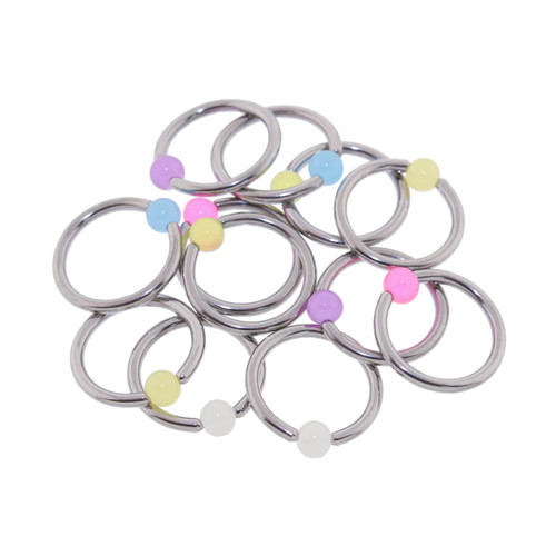 "Lex and Lu 6 Pack Pair of Steel Captives w/Glow in Dk 4mm Acrylic Balls 14 Gauge 7/16"" Dia"