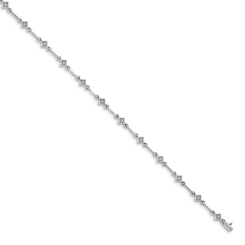 """Lex & Lu 14k White Gold Diamond 7.5"""" Link Bracelet LAL665-Lex & Lu"""