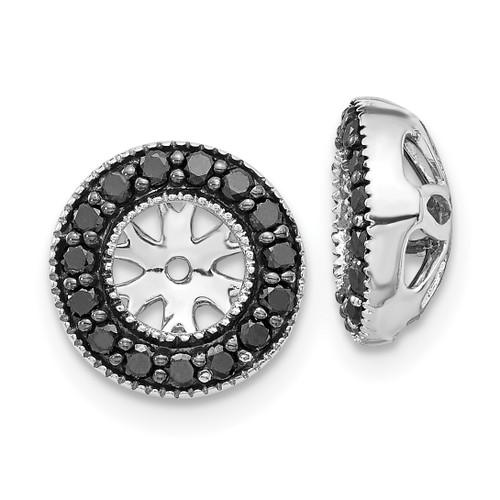 Lex & Lu 14k White Gold Black Diamond Earring Jackets LAL778-Lex & Lu