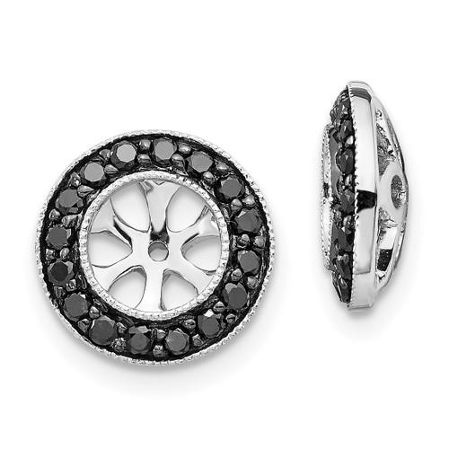 Lex & Lu 14k White Gold Black Diamond Earring Jackets LAL780-Lex & Lu