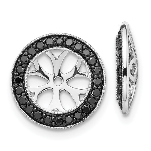 Lex & Lu 14k White Gold Black Diamond Earring Jackets LAL787-Lex & Lu