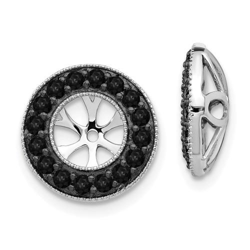 Lex & Lu 14k White Gold Black Diamond Earring Jackets LAL788-Lex & Lu