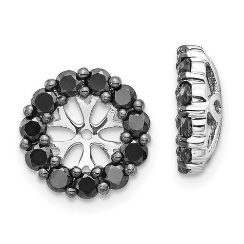 Lex & Lu 14k White Gold Black Diamond Earring Jackets LAL802-Lex & Lu