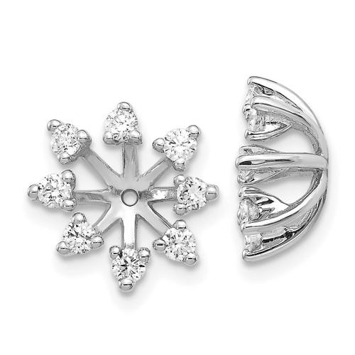 Lex & Lu 14k White Gold AA Diamond Earring Jackets LAL805-Lex & Lu