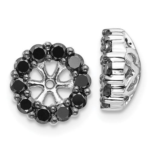 Lex & Lu 14k White Gold Black Diamond Earring Jackets LAL810-Lex & Lu