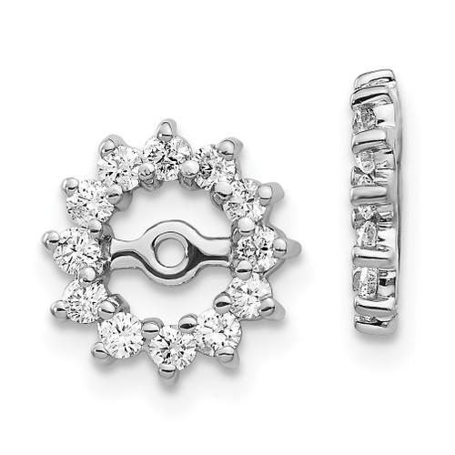 Lex & Lu 14k White Gold AA Diamond Earring Jackets LAL845-Lex & Lu