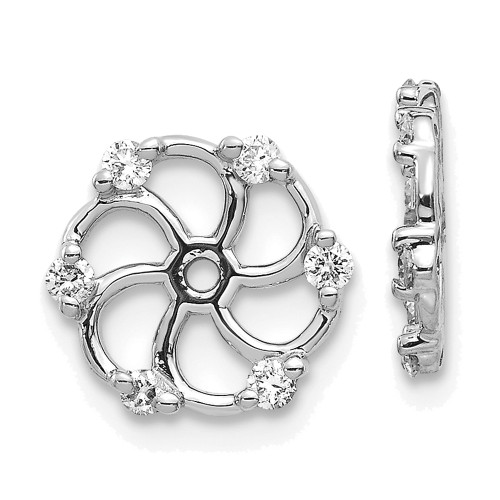 Lex & Lu 14k White Gold AA Diamond Earring Jackets LAL856-Lex & Lu