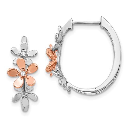 Lex & Lu 14k Rose & White Gold Diamond Earrings LAL1248-Lex & Lu