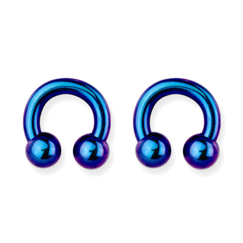 "Lex & Lu Pair of Int Thrd Titanium Circular Barbells 4 Gauge 1/2"" Dia Blue/Purple-Lex & Lu"