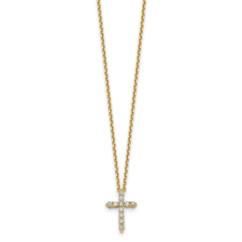 Lex & Lu 14k Yellow Gold Cross Pendant w/Chain Necklace LAL2563-Lex & Lu