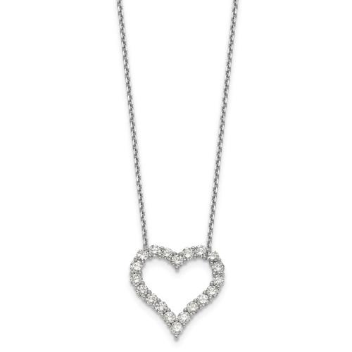 Lex & Lu 14k White Gold Heart Pendant w/Chain Necklace LAL2582-Lex & Lu