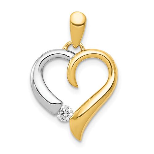 Lex & Lu 14k Two Tone Gold Diamond Heart Pendant LAL3612-Lex & Lu
