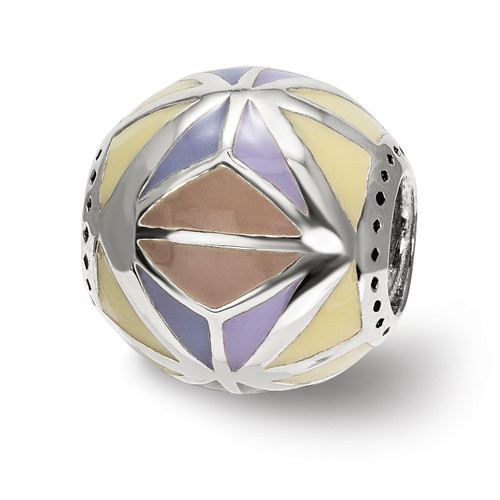 Lex & Lu Sterling Silver Reflections Brown,Yellow & Lavender Enameled, Silver IP-P-Lex & Lu