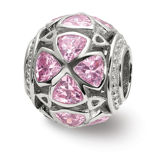 Lex & Lu Sterling Silver Flowers with Pink CZs Bead-Lex & Lu