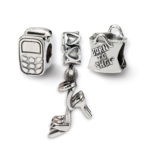 Lex & Lu Sterling Silver Reflections Stylish Girl Boxed Bead Set-Lex & Lu