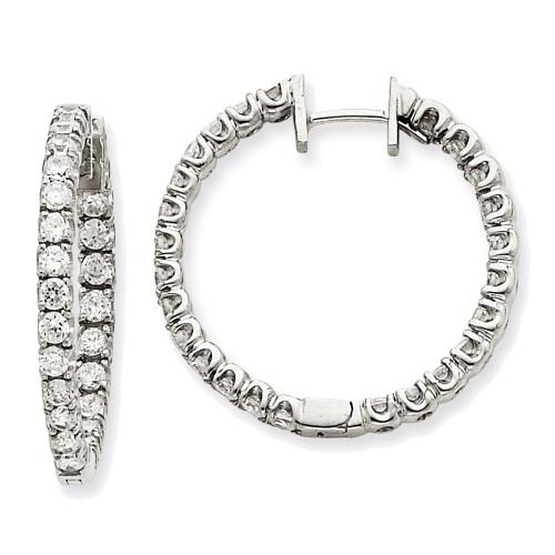 Lex & Lu 14k White Gold AA Diamond Hinged Hoop Earrings LAL15111-Lex & Lu