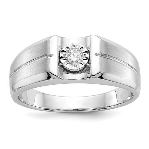 Lex & Lu 14k White Gold Diamond Men's Ring LAL14178 Size 10-Lex & Lu