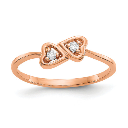 Lex & Lu 14k Rose Gold Polished AA Diamond Heart Ring LAL15380 Size 6-Lex & Lu