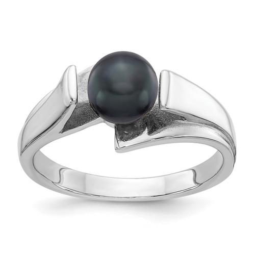 Lex & Lu 14k White Gold 6mm Black FW Cultured Pearl Ring Size 6-Lex & Lu
