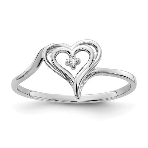 Lex & Lu 14k White Gold AA Diamond Heart Ring LAL15435 Size 6-Lex & Lu