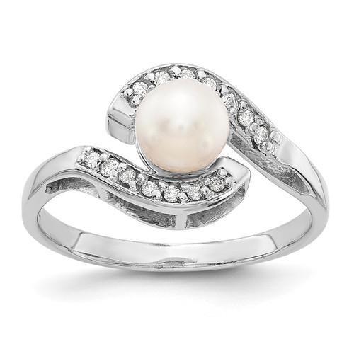 Lex & Lu 14k White Gold 5.5mm FW Cultured Pearl AA Diamond Ring LAL15472 Size 6-Lex & Lu