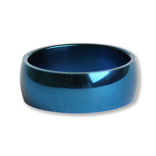 Mens Blue Plated Stainless Steel 7mm Band Ring-Lex and Lu