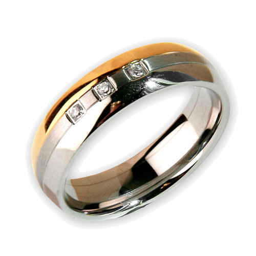 Mens Choc/ Brushed/ Polished Stainless Steel W/ 3 Czs 6mm Band Ring-Lex and Lu