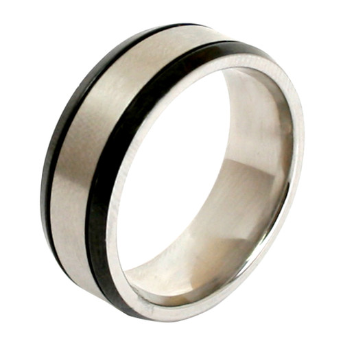 Mens Stainless Steel Black Plated Trim 8mm Band Ring-Lex and Lu