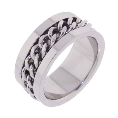 Mens Stainless Steel Polished W/Curb Chain 10mm Band Ring-Lex and Lu
