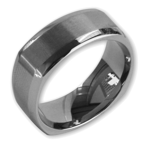 Lex & Lu Men's Stainless Steel Matte Finished Squared 9mm Band Ring-Lex & Lu