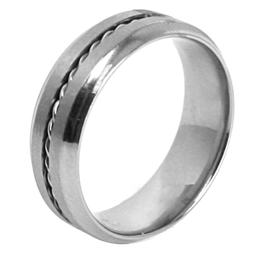 Mens Stainless Steel Rope Twist Accent 7mm Band Ring-Lex and Lu