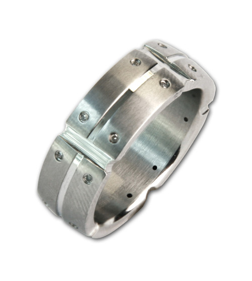 Mens Stainless Steel Multi Real Diamond 8mm Band Ring-Lex and Lu