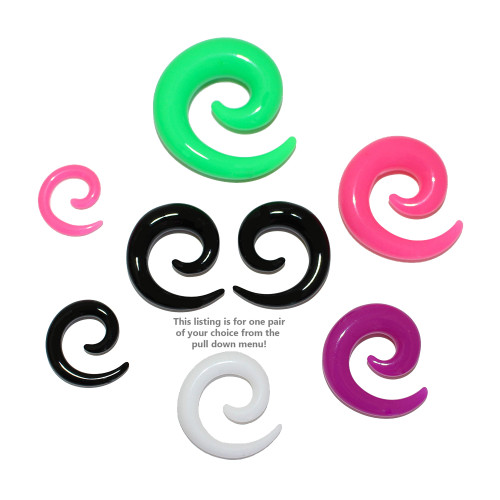 Lex and Lu Pair of Acrylic Spirals Tapers Expander Stretcher Plugs 8G Thru 00 Gauge