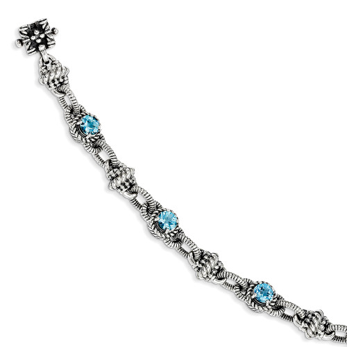 Lex and Lu Sterling Silver Swiss Blue Topaz Bracelet QTC377