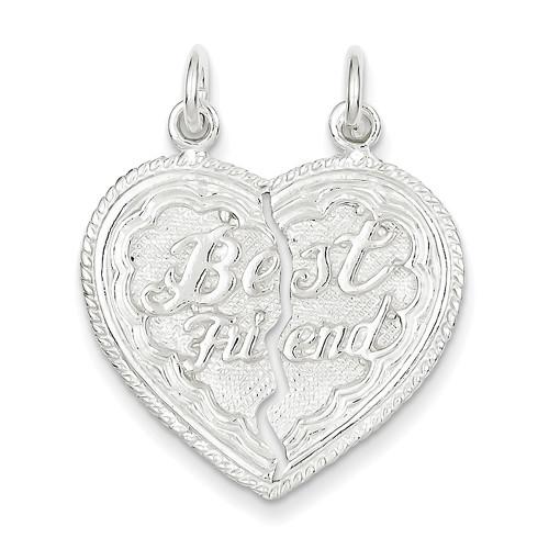 Lex & Lu Sterling Silver Best Friend 2 Piece break apart Heart Charm LAL5620-Lex & Lu