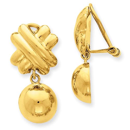 14k Non-pierced Fancy Ball Earrings H632-Lex and Lu