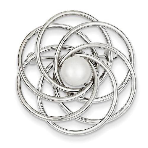 14K White Gold FW Cultured Pearl Swirl Pin PIN160-Lex and Lu