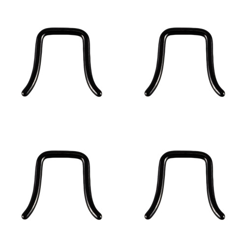 Lex & Lu 4 Pack of Steel Black U-Shaped Septum Retainer 16 Thru 10 Gauge-Lex & Lu