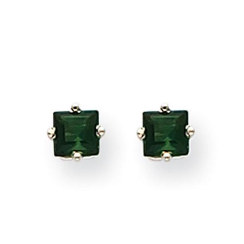 Lex & Lu 14k White Gold Green Tourmaline Earrings LAL85447-Lex & Lu