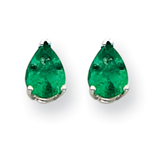14k White Gold Emerald Earrings XE80WE-B-Lex and Lu
