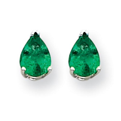 Lex & Lu 14k White Gold Emerald Earrings LAL85524-Lex & Lu