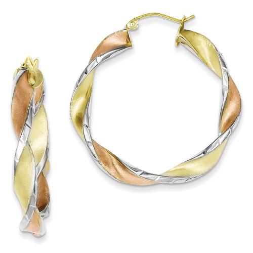 Lex & Lu Sterling Silver & Yellow and Rose Vermeil D/C Twisted Hoop Earrings-Lex & Lu