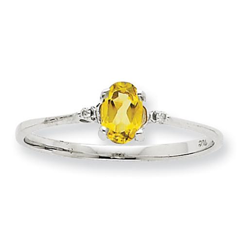 Lex & Lu 10k White Gold Geniune Diamond & Peridot Birthstone Ring 10XBR2-Lex & Lu