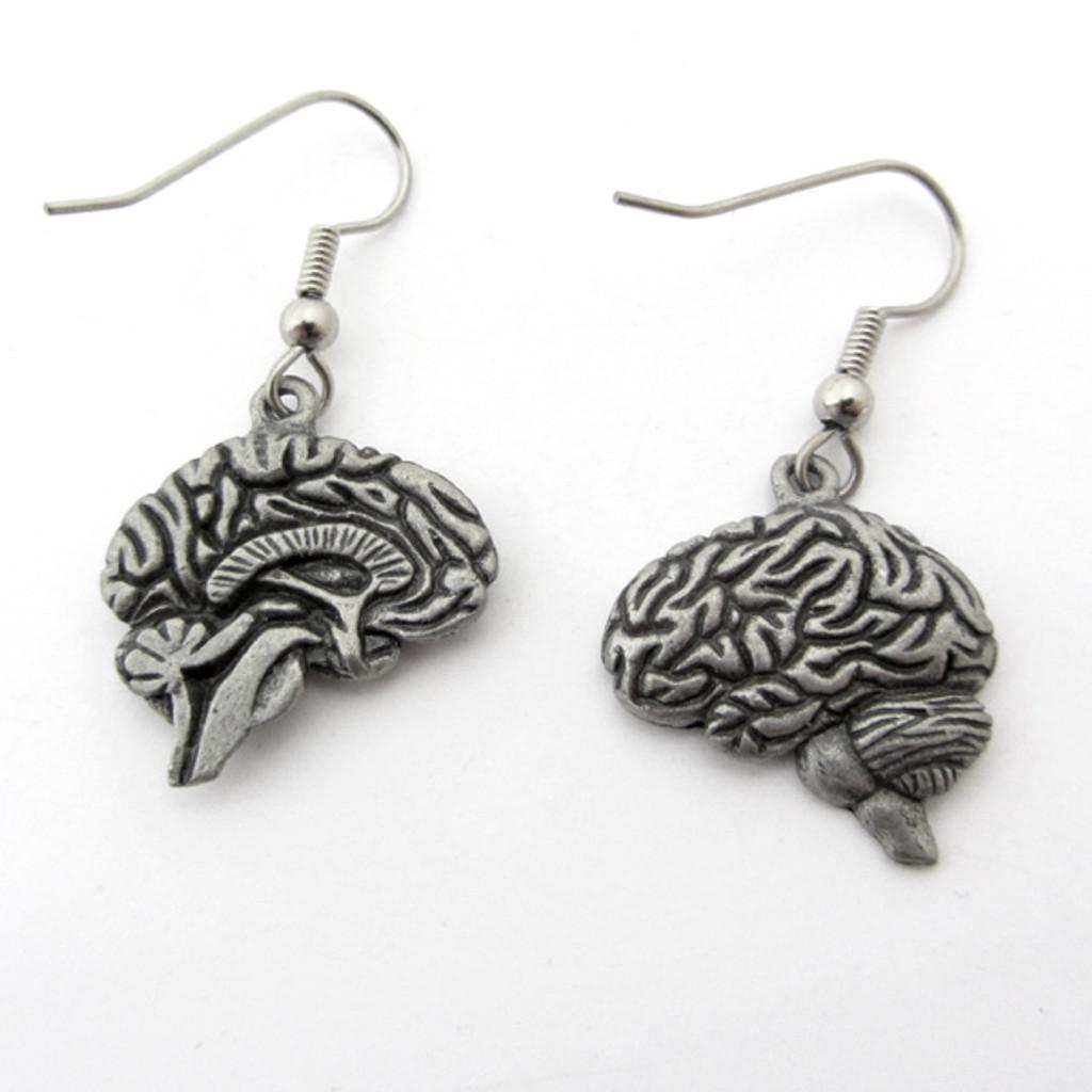 human brain earrings