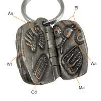 Burgess shale fossils keychain, Anomalocaris, Eldonia, Waptia, Marella, Odontogriphus, Wiwaxia