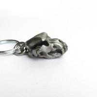 pewter cave bear skull keychain