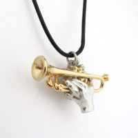 trumpet with hands pendant
