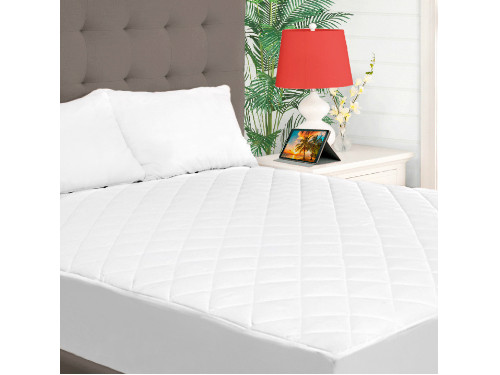 {White Quilted Mattress Pad} main